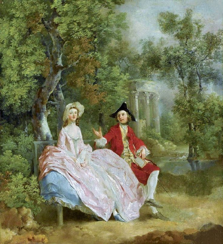Thomas Gainsborough (1727-1788) Conversation in a Park - Self Portrait with his wife Margaret 1746