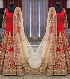 Buy Red silk embroidered semi stitiched salwar with dupatta wedding-salwar-kameez online