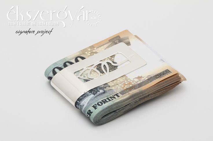 Egyedi ezüst aláírás pénzcsipesz.