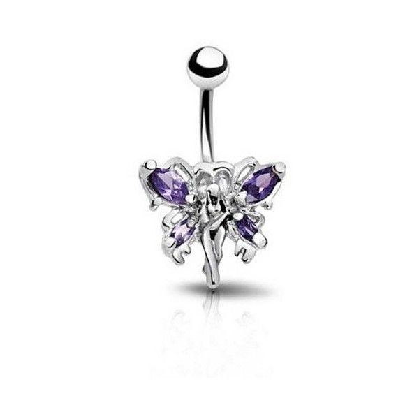 Bling Jewelry Tanzanite Color CZ Fairy Navel Belly Button Ring... ($11) ❤ liked on Polyvore featuring jewelry, purple, cubic zirconia jewelry, belly button rings jewelry, stainless steel body jewelry, body jewellery and cz jewelry