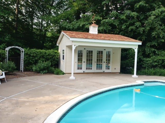 25 best ideas about pool shed on pinterest pool house for Shed into pool house