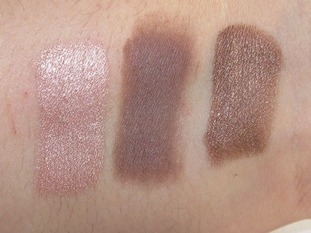 Too Faced The Chocolate Bar eye palette swatches from left to right: Marzipan, Semi-Sweet, Hazelnut