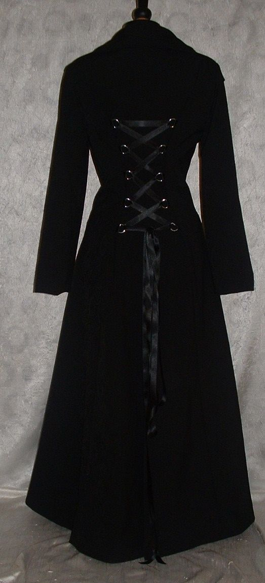 womens gothic black corset coat victorian full length fit flare matrix vampire dracula whitby USA size 6 - 16  EXCLUSIVE to darkestdreams by darkestdreams
