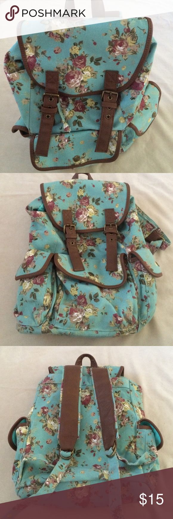 Candies floral backpack EUC!  Cute pattern. Faux leather trim Candies Bags Backpacks