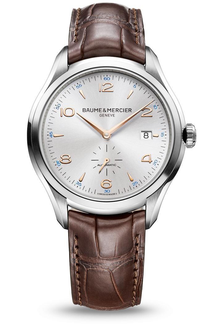 Découvrez+la+montre+homme+bracelet+cuir+à+mouvement+automatique+Clifton+10054,+conçue+par+Baume+et+Mercier,+manufacture+de+montres+suisses.