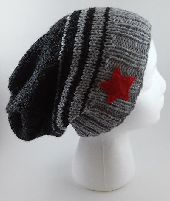 Winter Soldier Knit Slouchy Beanie  MADE TO por tinyhappyknits