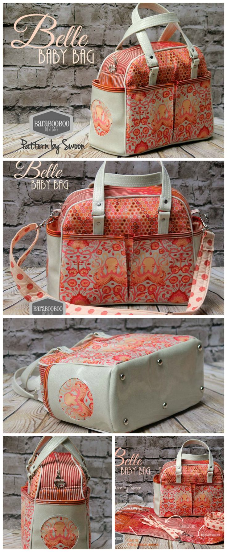Awesome diaper bag sewing pattern.  Handles, shoulder strap and even stroller straps to sling the bag from the handles.  10 pockets - this diaper bag sewing pattern has everything!  Photos by Michelle Wilkinson Tripp