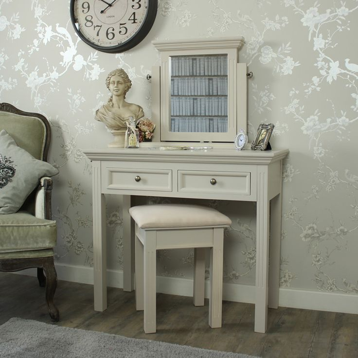 Daventry Range - Grey Dressing Table, Stool and Mirror Full wooden painted dressing table set