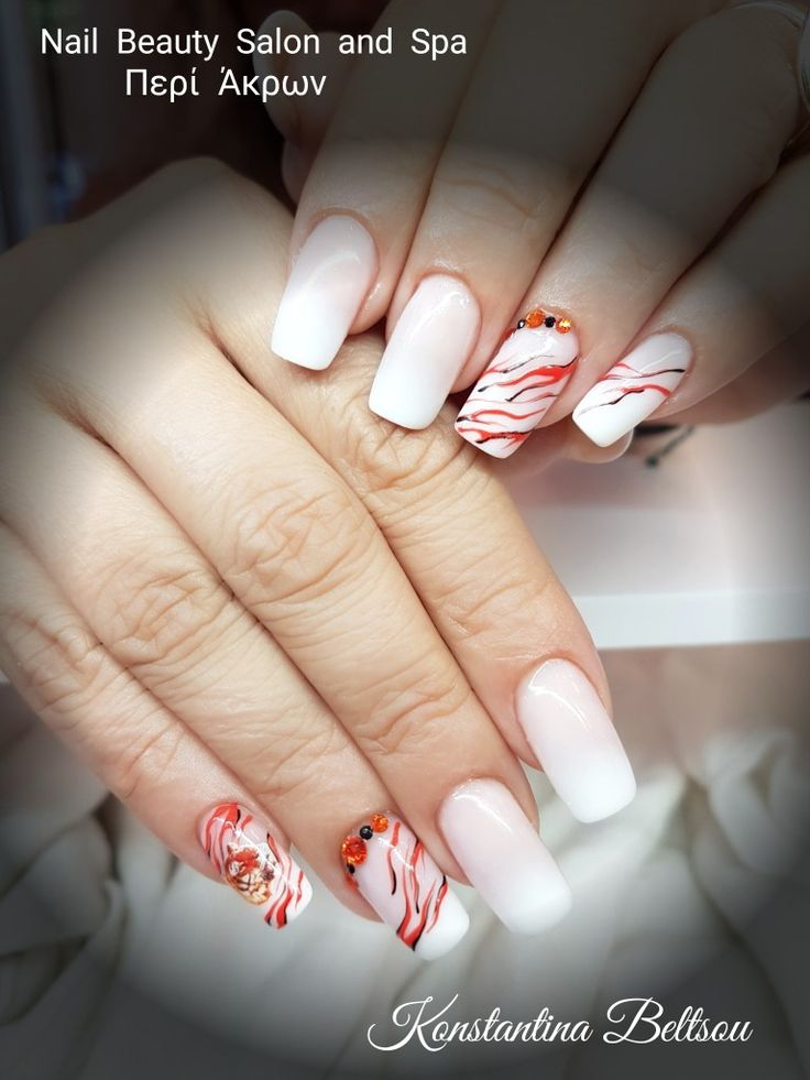 Salon Nails, long nails, square Oval Shape nails , Acrylic nails, Babyboomer, ombre nails, French manicure nails, style, gel painting animal prints and jewelry, nail Designs, animal print, orange and black details