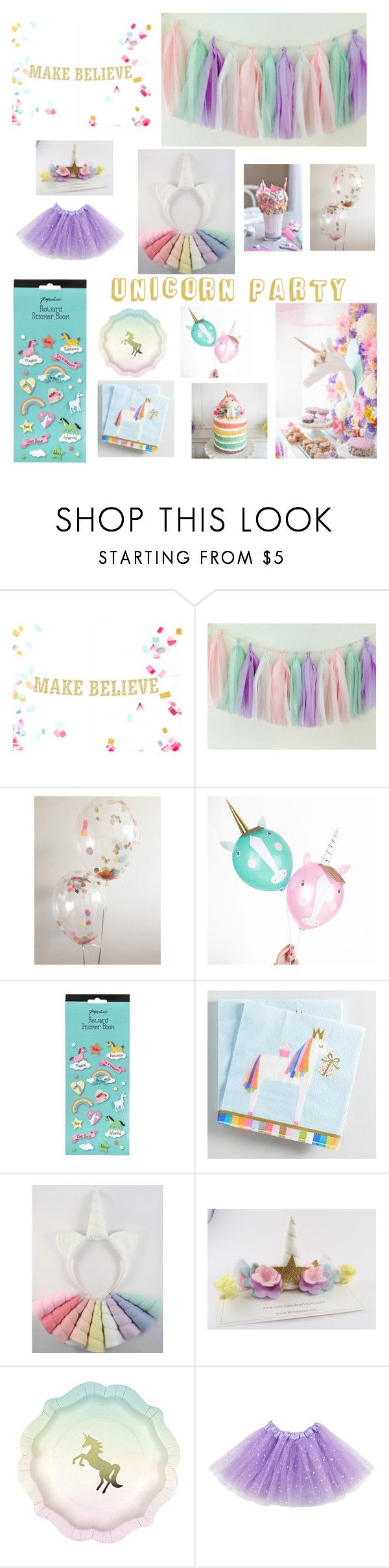 """""""Unicorn Party Ideas"""" by littlelapins ❤ liked on Polyvore featuring interior, interiors, interior design, home, home decor, interior decorating, Cost Plus World Market and Talking Tables"""