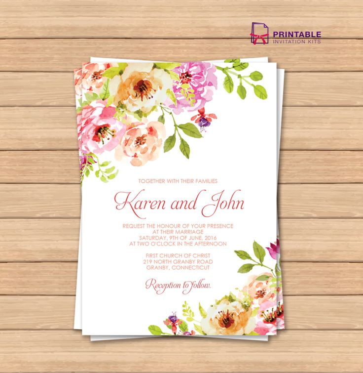 FREE PDF wedding invitation template with editable texts. Vintage Floral Borders