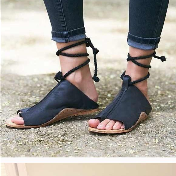Free people cherry valley sandals Slide into a breezy summer sandal with stud details and a braided suede rope that wraps around the ankle. Leather upper, lining and sole. Euro size 38 = us size 7.5 Free People Shoes Sandals