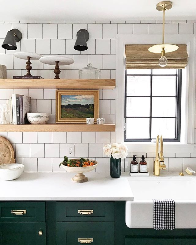 Green And White Kitchen Cabinets