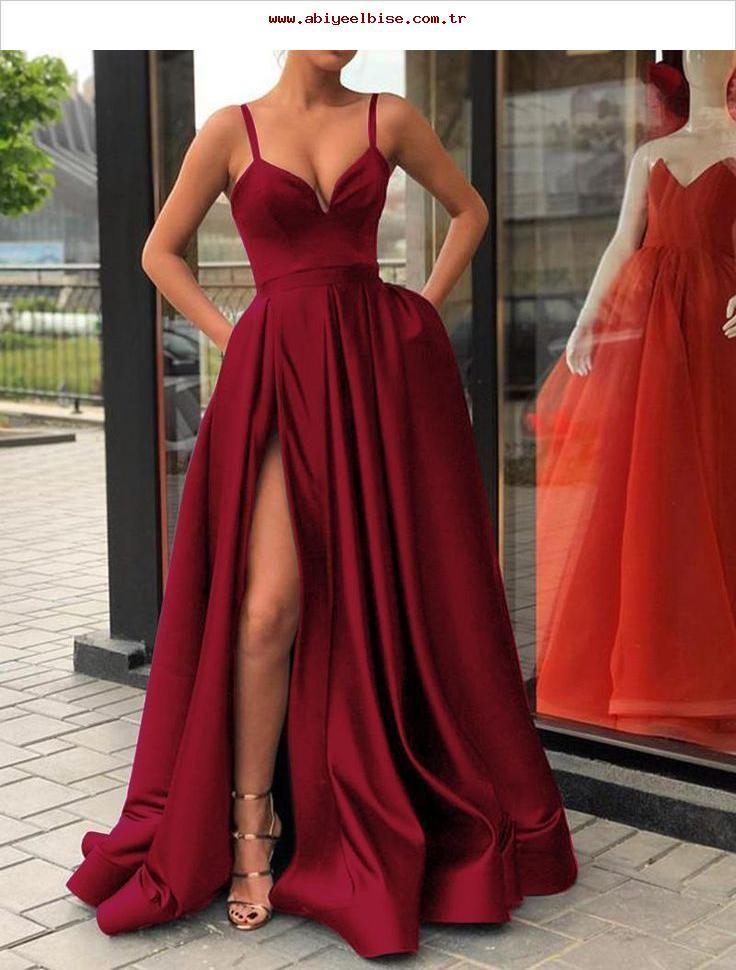 abdeb05987f5 Spaghetti-Trägern Schwarzes Abendkleid Langes Abendkleid mit Slit ...