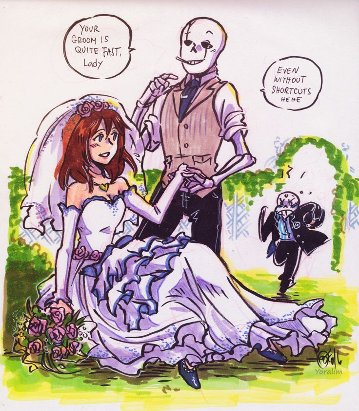 "yoralim: "" A very VERY VEEERY late…. request for @sans-loves-frisk ;__; and it's also your B-day so have a happy one!! ♥ She requested her version of Frisk in bridal outfit + G. But I couldn't help adding Sans as well! Jelly groom running for..."
