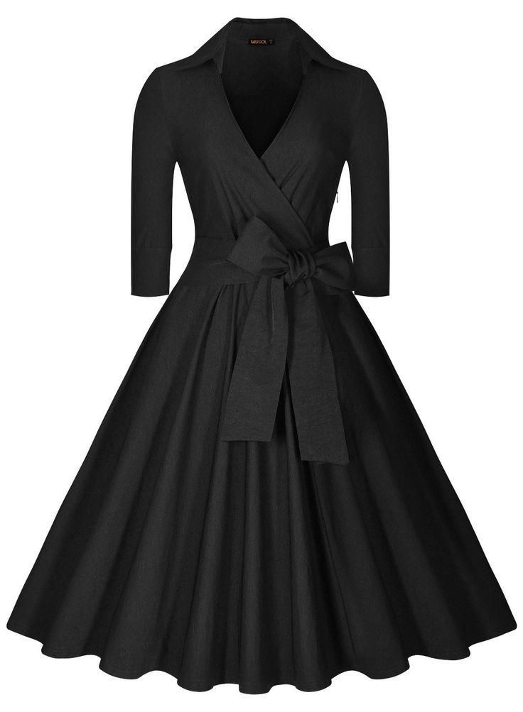 Miusol Women's Deep-V Neck Half Sleeve Bow Belt Vintage Classical Casual Swing Dress, Black, Small