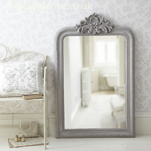 French Grey Large Ornate Mirror