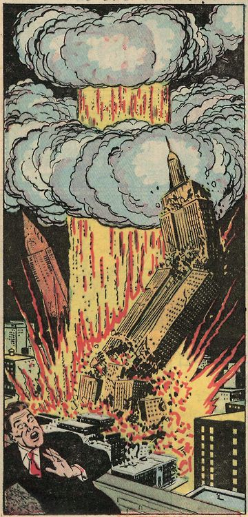 The Blast from Hell....Atomic Bomb comic book panel from the 50's.  Looks like Heros!!!