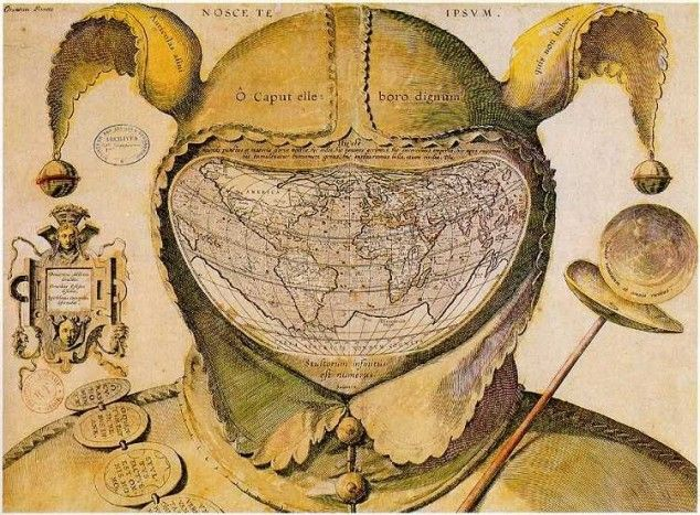 "This image is one of the enigmas of cartographic history. The artist, date and place of publication are all unknown. The geography of the map strongly resembles that of the world maps of Ortelius published in the 1580s, giving a tentative date of c.1590.…    Although Epichtonius Cosmopolites appears to be the author's or artist's name, it translates roughly as ""Everyman,"" leaving the mapmaker's true identity hidden.: Antiques Maps, Cap Maps, Head Of Garlic, The Artists, The Faces, Bibliothèqu National, World Maps, Fools Cap, Fools Head"