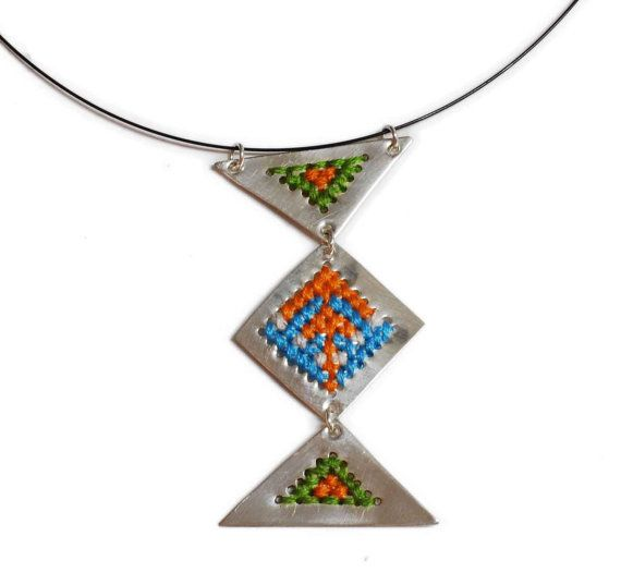 Embroidered silver 925 necklace #embroidered #embroidery #necklace #silver #handmade #crossstitch #xstitch #geometricalpattern #boho #ethnic