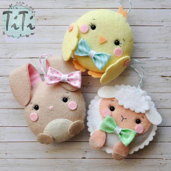 Pascua Linda fieltro adornos juego de 7 decoración de por TiTics