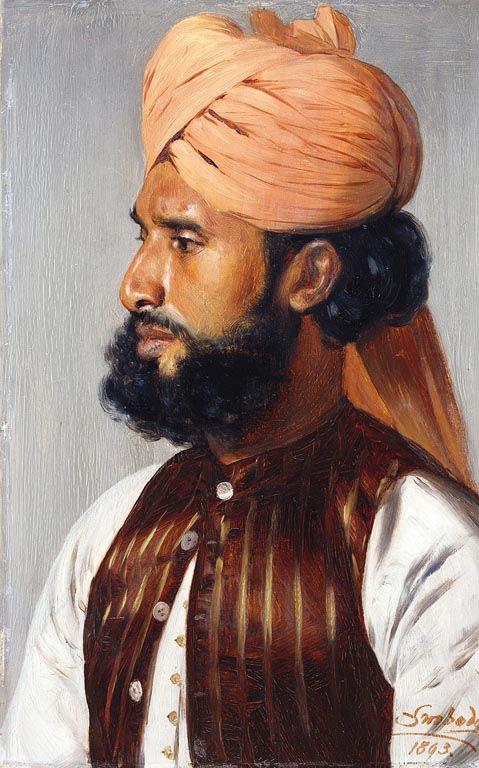 Portrait of Sheikh Khudda Bakhsh, 1893 by Rudolf Swoboda (1859-1914) | Royal Collection Trust