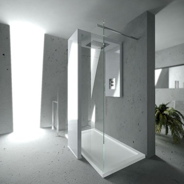 Minimalistische Dusche Italienisch Design Integriert Heizkörper Weiß  Ausführung Brandoni #Bad #dusche U0027