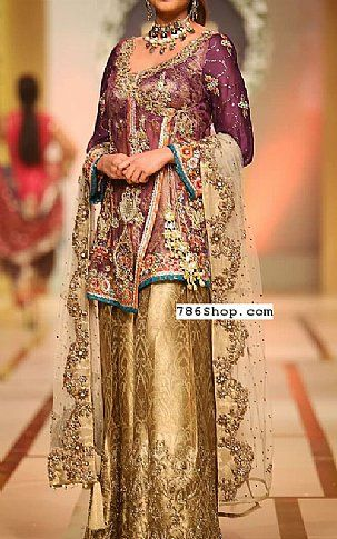 9ffdc40b00 Indigo/Golden Crinkle Chiffon Suit | Buy Pakistani Fashion Dresses and  Clothing Online in USA, UK