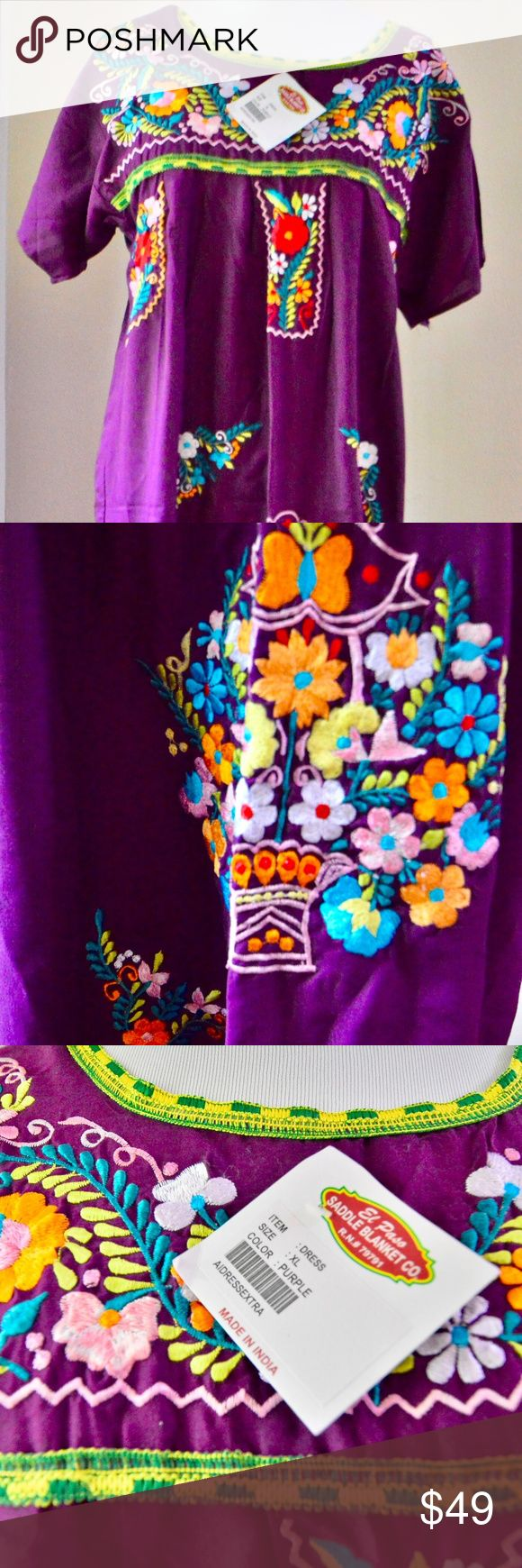 "Embroidered Purple Mexican Wedding Dress Embroidered Purple Short Sleeve  Mexican Wedding Dress.  Size: Extra Large . Measurements Length (shoulder to bottom edge):  44"" Width (from under one arm to the other): 18"".  Please check the measurements - it's not a very ""large"" ""Extra Large"".  Fabric: Cotton. On the Tag: El Paso Saddle Bag Company. It's made in India but it's a Mexican Wedding Dress (Hello Diversity) Old El Paso Dresses Maxi"