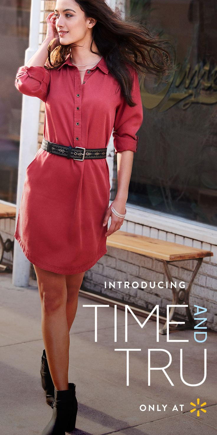 A great day is a classic Women's button up Shirt Dress in rich red, cinched with a chocolate belt. Throw on the right outfit and suddenly you're bringing it, with grace and style. That's what Time and Tru Women's apparel is designed to do. All our clothes work effortlessly together. The fashions, palettes, on-trend lines, and solid craftsmanship bring out your best. From flattering clothing with pretty details to wardrobe classics and accessories, find them all at Walmart.