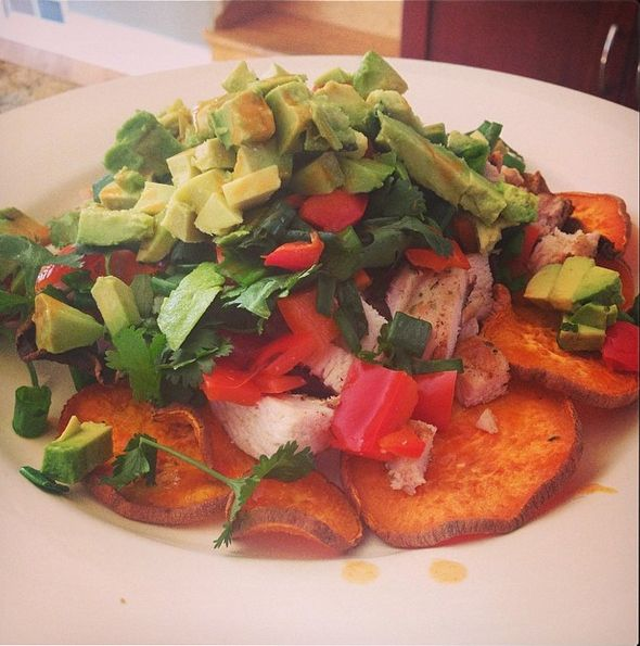 sweet potato layer with grilled chicken, grilled red pepper, scallions ...