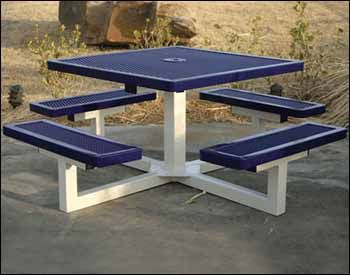 "46"" Square Pedestal Portable Regal Metal Picnic Table. Thermo-plastic finish - most durable"