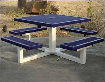"46"" Square Pedestal Portable Regal Metal Picnic Table. Thermo-plastic finish - most durable"