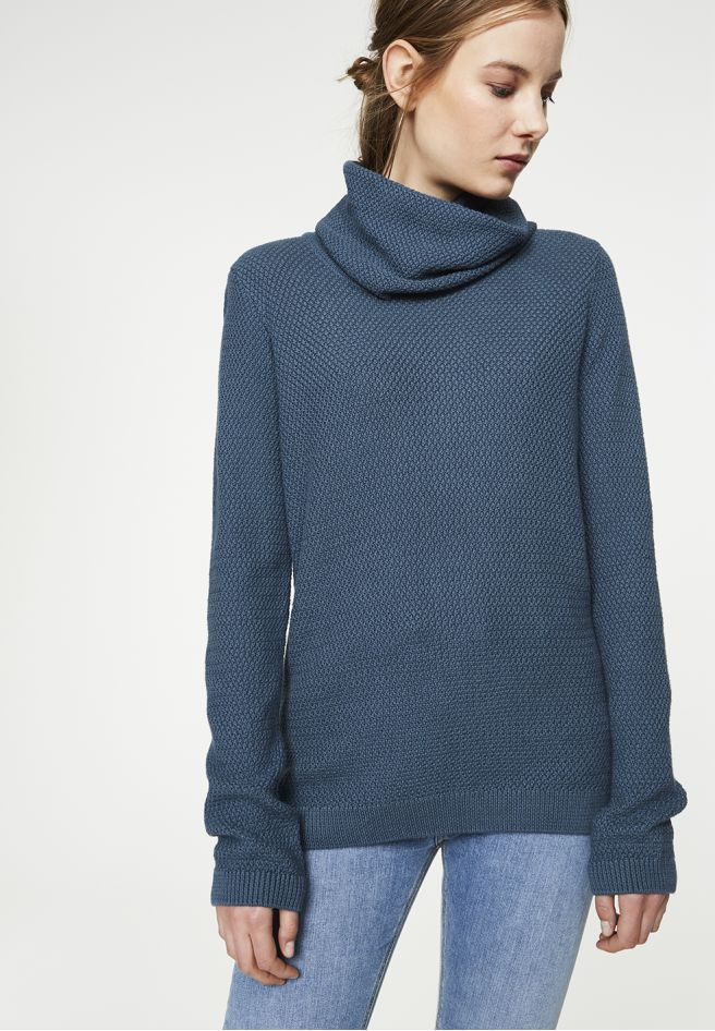 available in blue - Strick Pullover Solid, 100% Baumwolle (bio), Regular fit, GOTS - sustainable materials and fair production