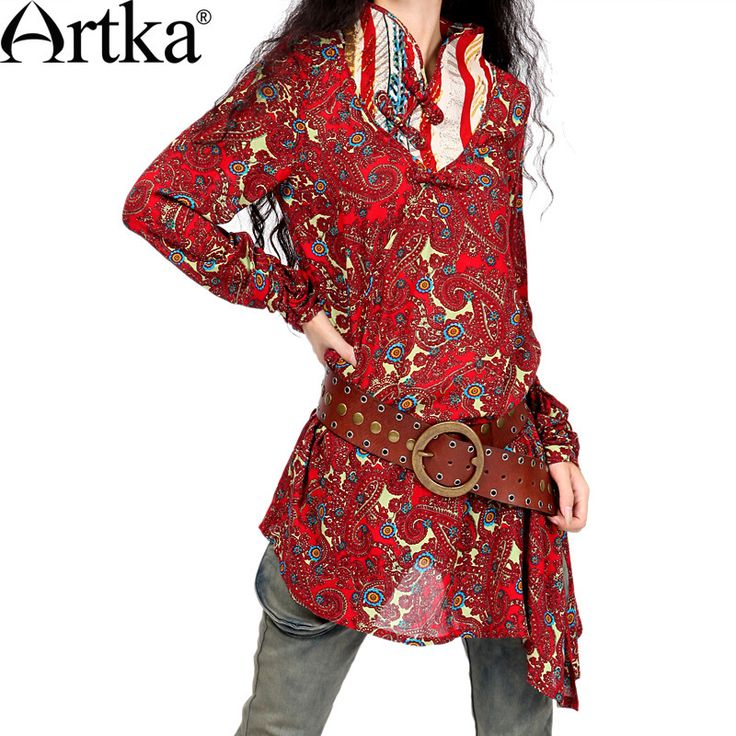 Artka Women'S National Button Irregular Printing Sashes Early Spring Mandarin Collar  Wind Shirt Long Cotton Blouse SA10323X $2 012,02