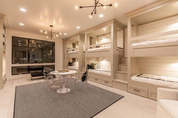 Contemporary Kids Bedroom with Wall sconce, Carpet, Hardwood floors, High ceiling, Built-in bookshelf, Chandelier, Bunk beds