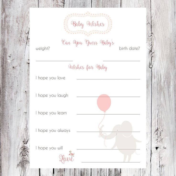 Baby wish card for baby showers, cute elephant design in pink.