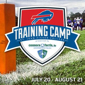Buffalo Bills Training Camp will be held at St. John Fisher College in Pittsford, NY July 20-August 21. Admission is free