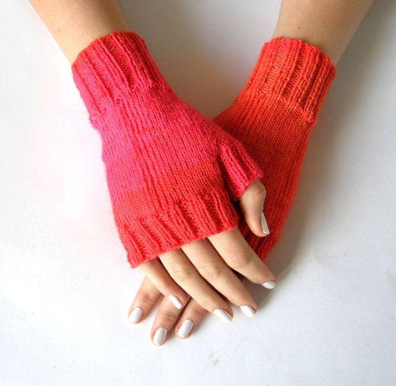 Vingerloze wanten  handschoenen Roze maat S/M door Carolinevantveer