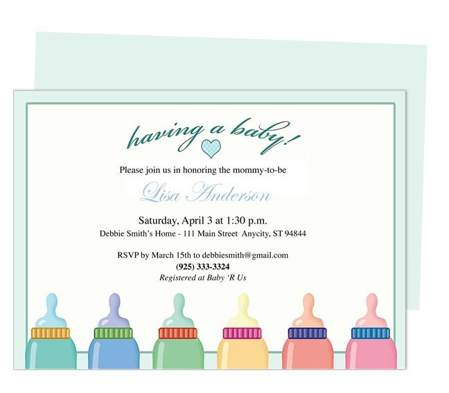 Baby Shower Invitations : Bottles Baby Shower Invitation Template