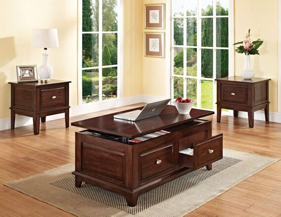 mahir walnut finish wood square end table with storage drawer coffee table available separately