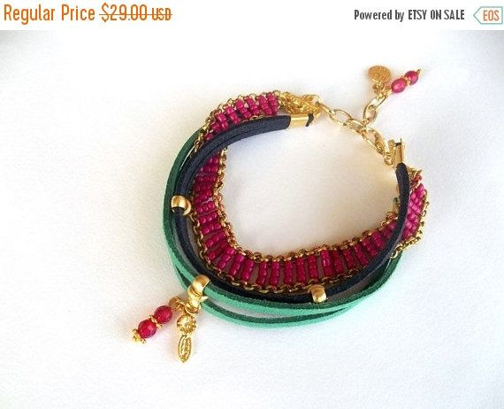 Mothers Day ON SALE Jewelry, Bracelet, Multi Strand Suede Leather Bracelet, Christmas Gift, Fashionable, Women Jewelry, Multi Colourful Brac