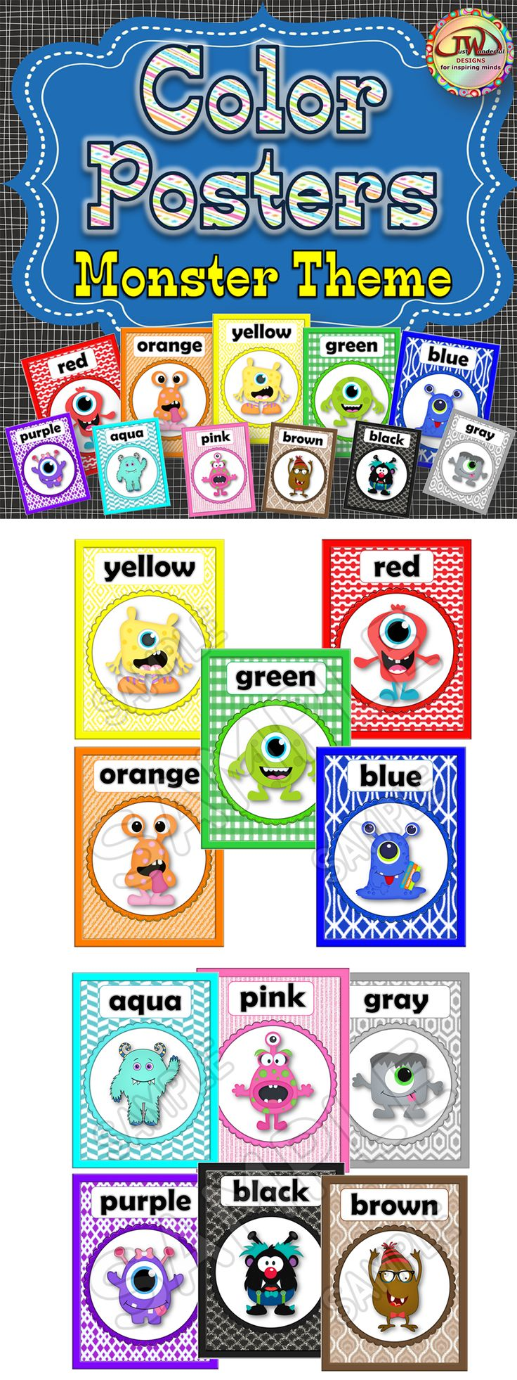 Part of my MONSTER THEME CLASSROOM series.  These bright, bold color posters will delight early elementary students.  Coordinates with all my other monster themed classroom items found here:  https://www.teacherspayteachers.com/Store/Jwdesigns/Category/-Monster-Theme-248075