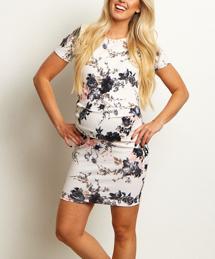 Love this PinkBlush White Floral Ruched Maternity Bodycon Dress by PinkBlush Maternity on #zulily! #zulilyfinds
