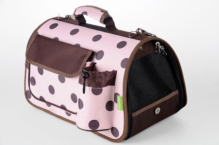 Pink igloo carrier with Brown Polkadots pattern! Space saving storage and Convenient Transportation! http://edenpetz.co.uk/dogs/dogcarrierscrates/collapsiblecarriers/navypolkadotscarrierlarge