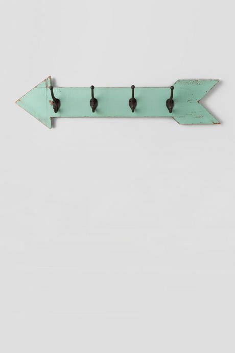 Mint Wood Wall Arrow with Hooks