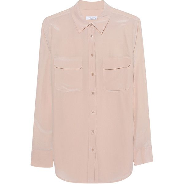 EQUIPMENT Slim Signature Nude // Silk blouse ($320) ❤ liked on Polyvore featuring tops, blouses, pink silk shirt, pink collared shirt, collar blouse, slim fit collared shirts and collared shirt