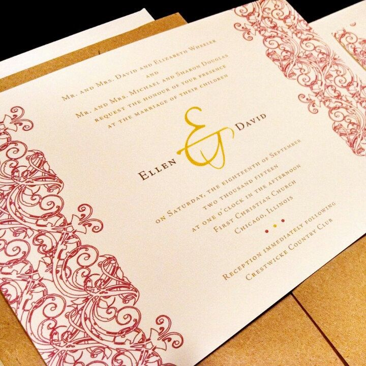 wedding invitation sample by email%0A Flourish Damask Lace Henna Custom Unique Wedding Invitation Horizontal  Spring Summer Fall Winter Striking Floral Toile