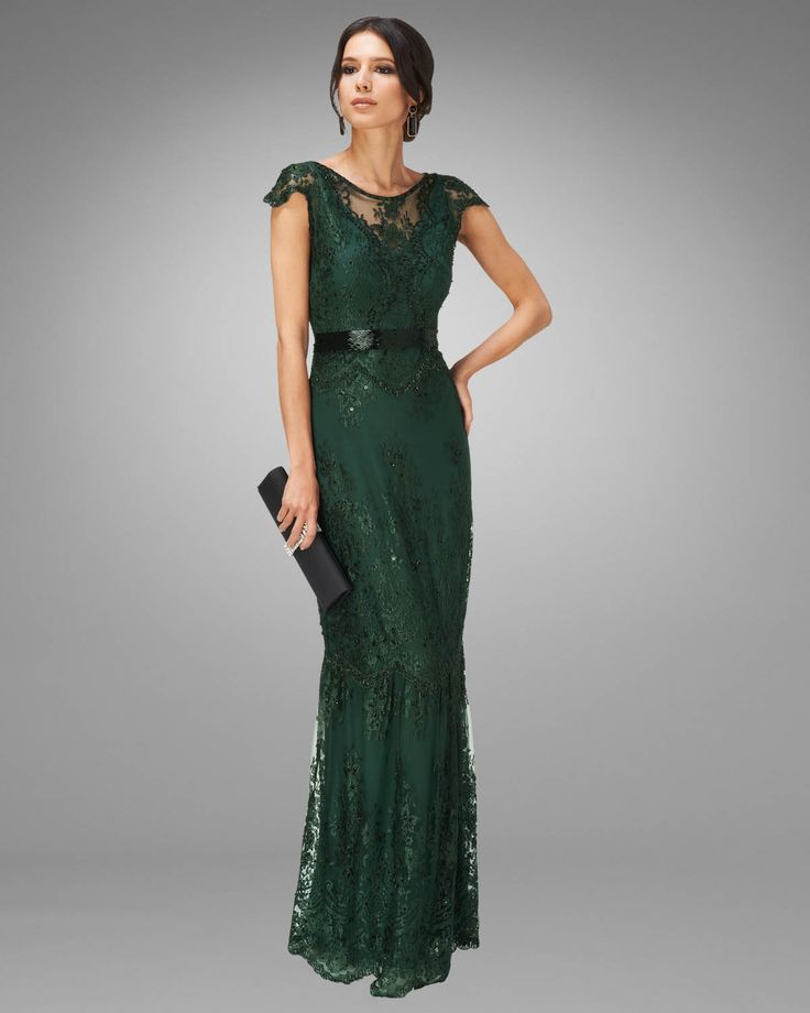 Emerald wedding dress. Could this be any more romantic and graceful? This is a green wedding gown done right, folks. Phase Eight Cindy Lace.
