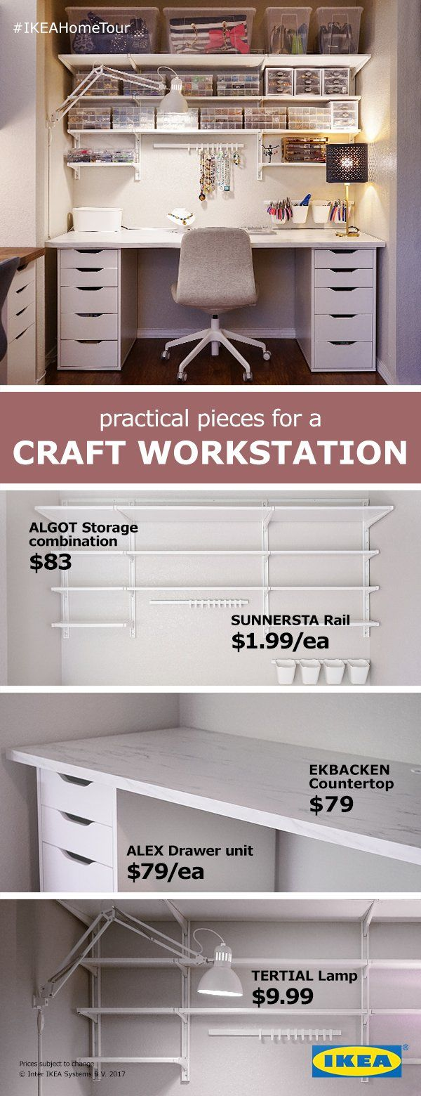 Practical pieces for a craft work station from the IKEA Home Tour Squad. The ALGOT storage combination creates plenty of storage for supplies, without taking up floor or counter space. The ALEX drawer unit lets you have plenty of surface space with convenient sotrage cabinets underneath to organize all your crafting needs.